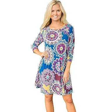 aea5cc727bee5b Xinan Damen Kleider 3/4 Ärmel Geometrische Vintage Print Lose Sommerkleid  Vintage Tunikakleid Bluse (