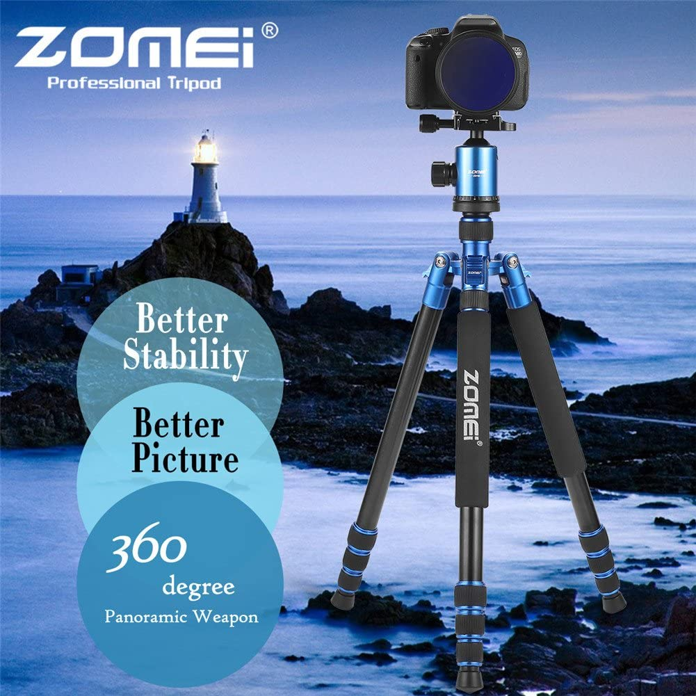 Z818 Tripods for Cameras 65 Aluminium Alloy Monopod with 360 Panorama Ball Head Quick Release Plate Ball for DSLR Canon Sony Nikon Cameras ZOMEi Tall Tripod,Camera Tripod for DSLR Blue