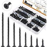 Rustark 160-Pcs #7 Coarse Thread Drywall Screw with Phillips Drive Black Oxide Finsh Bugle Head Wood Screws Assortment…
