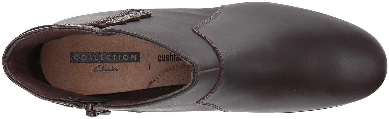 CLARKS Women's Emslie Monet Ankle Bootie B01MZ4YDRG 5 B(M) US|Dark Brown Leather