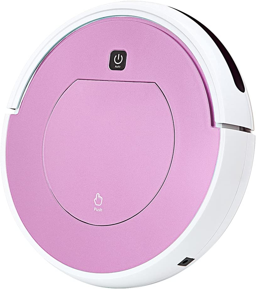 FENGRUI Robot Vacuum Cleaner Automatic Mini Strong Suction Remote Control HEPA Filter Robotic Vacuums Dog Pets Hair Hardwood Floor Surfaces 11.4x11.4x2.95 Inches (Pink)