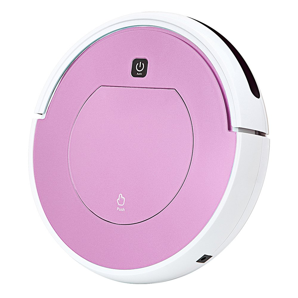 FENGRUI Robot Vacuum Cleaner Automatic Mini Strong Suction Remote Control HEPA Filter Robotic Vacuums for Dog Pets Hair Hardwood Floor Surfaces 11.4x11.4x2.95 Inches (Pink)