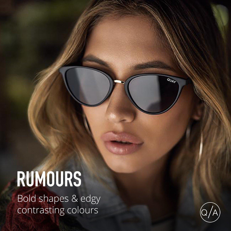 17997bacc8e Amazon.com  Quay Australia RUMOURS Women s Sunglasses Almond Shaped Sunnies  - Black Smoke  Quay  Clothing