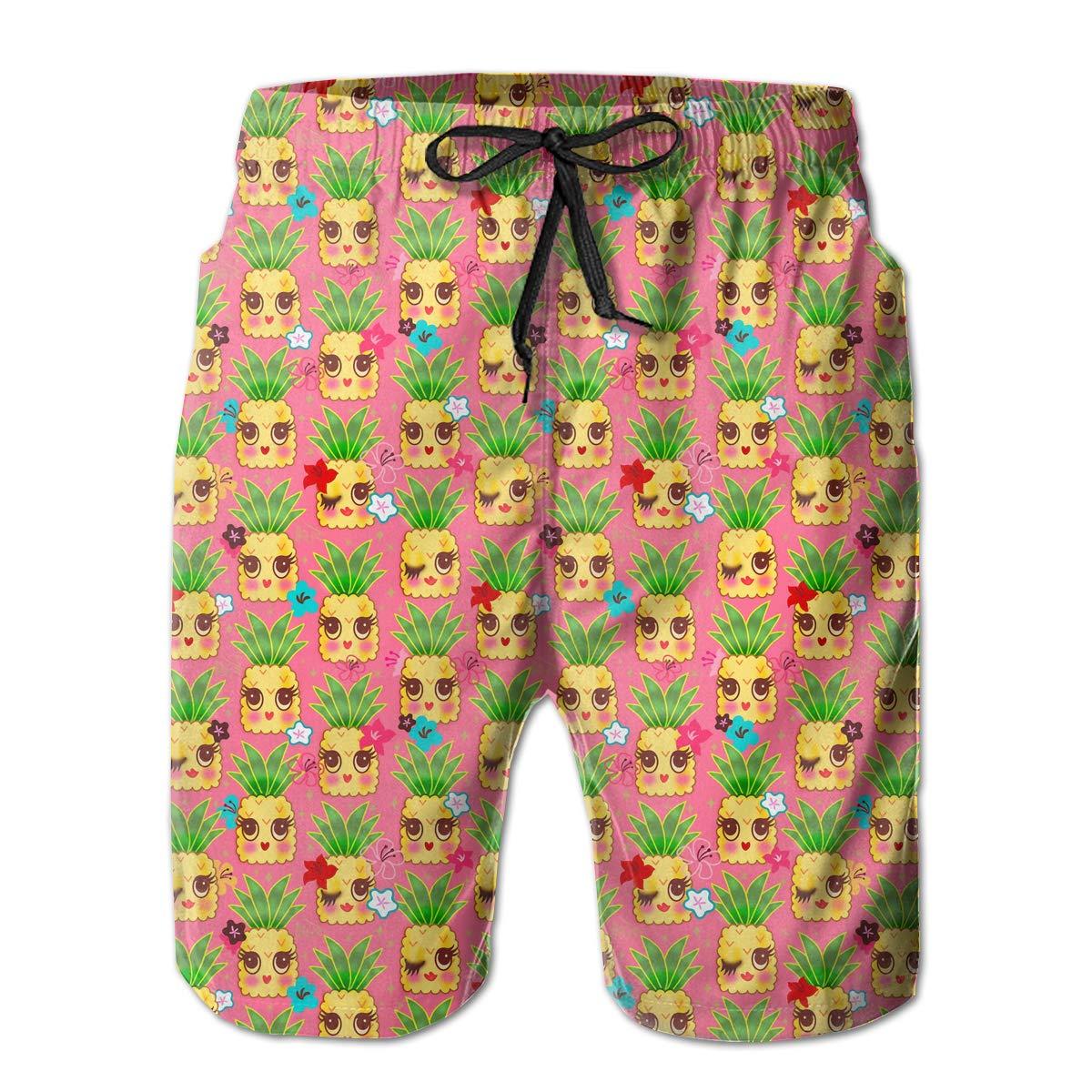 HFSST Cute Pink Yellow Pineapple Mens Swim Trunks Bathing Suit Shorts Board Beach