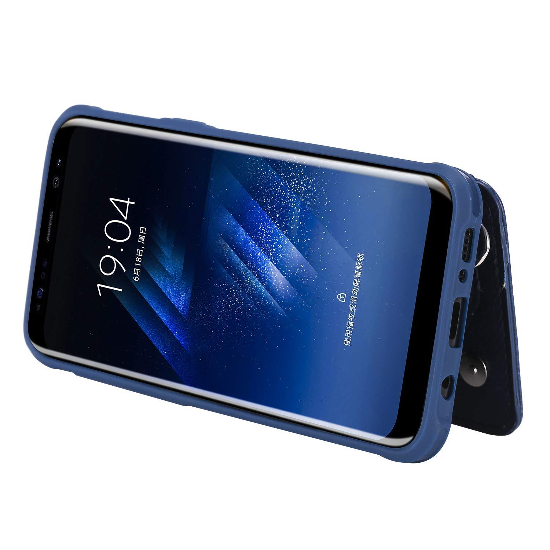 DAMONDY Case for Galaxy S8 Plus Zipper Wallet Purse Card Holders Design Cover Soft Shockproof Bumper Folio Flip Leather Kickstand Clasp Wrist Strap Case for Samsung Galaxy S8 Plus 2017-Black