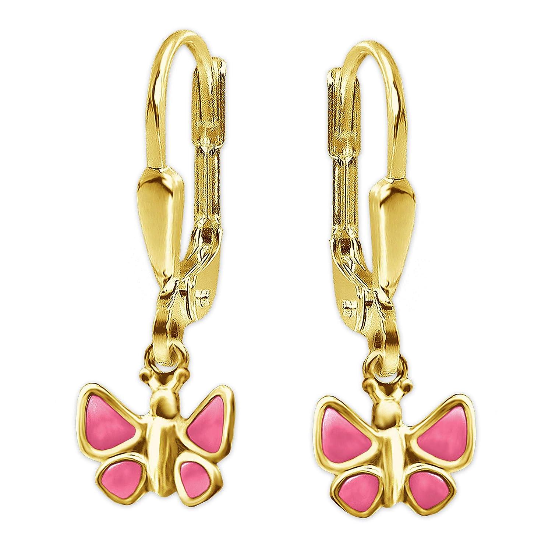 Schmetterling Ohrringe Gold 585 Brisur Mädchen Kinder Ohrhänger Zirkonia