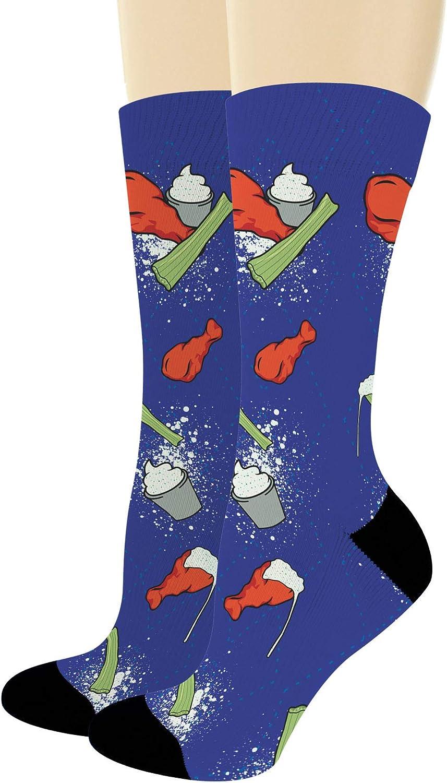 Food Gifts Chicken Wing Socks Foodie Socks Fried Food Crew Socks Ranch Socks Novelty Crew Socks