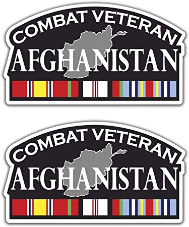 Afghanistan Campaign Veteran with Campaign Ribbon 5.5x3 Decal