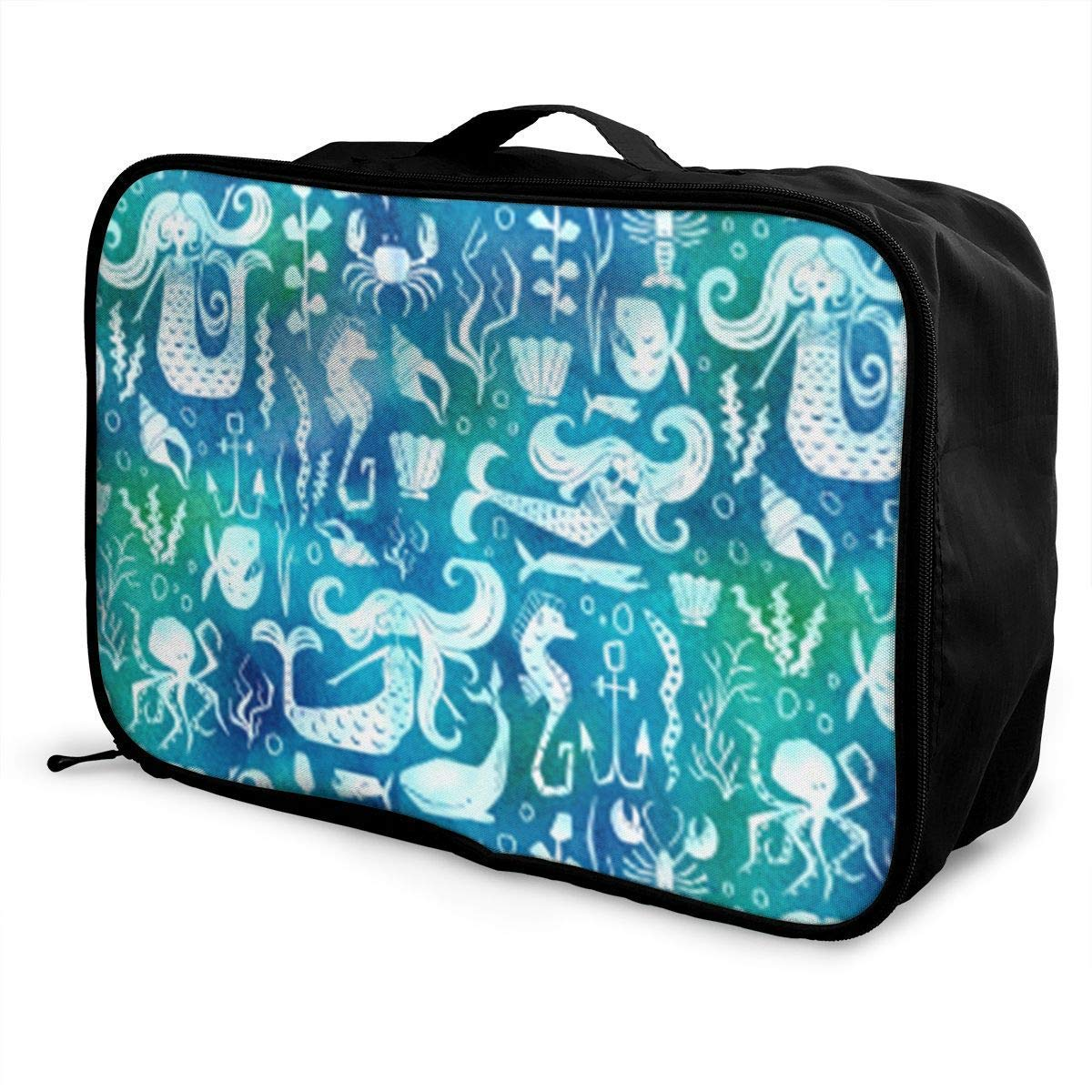 JTRVW Luggage Bags for Travel Portable Luggage Duffel Bag Nautical Mermaid Watercolor Blue Travel Bags Carry-on in Trolley Handle