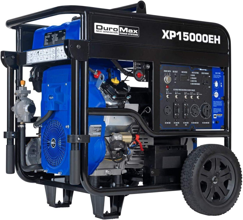 DuroMax XP15000EH Dual Fuel Portable Generator - 15000 Watt Gas or Propane Powered-Electric Start