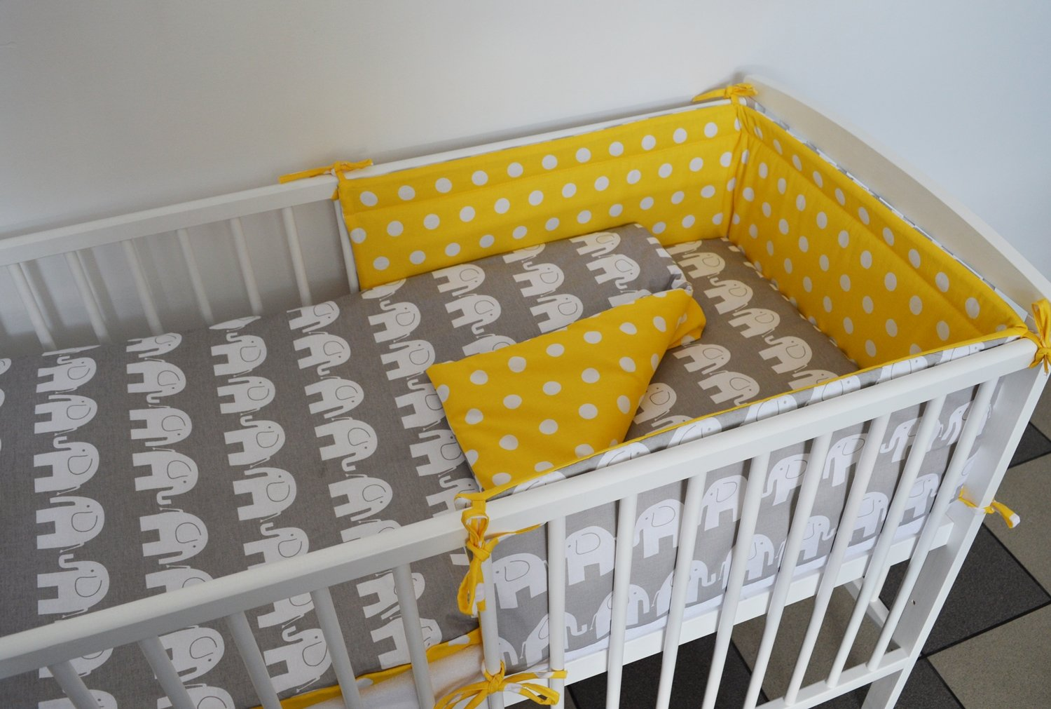 5 pc Baby Bedding Set for COT 120X60 OR COT Bed 140X70cm Inc Duvet+Pillow+Duvet Cover+Pillow CASE Bumper COT 120X60, Grey Elephant - Yellow with DOTS - Reversible