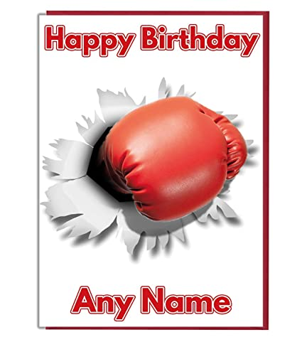 AK Giftshop Boxing Punch Personalised Birthday Card