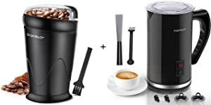 Aigostar Electric Coffee Grinder and Milk Frother, Stainless Steel, Black, Milk Steamer Hot and Cold 4-in-1 Milk Frothers, Coffee Grinder for Grinds Coffee Beans, Spices, Nuts and Grains.