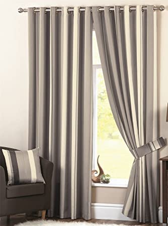 Curtains Ideas charcoal and cream curtains : Wilson Striped Lined Curtains 90