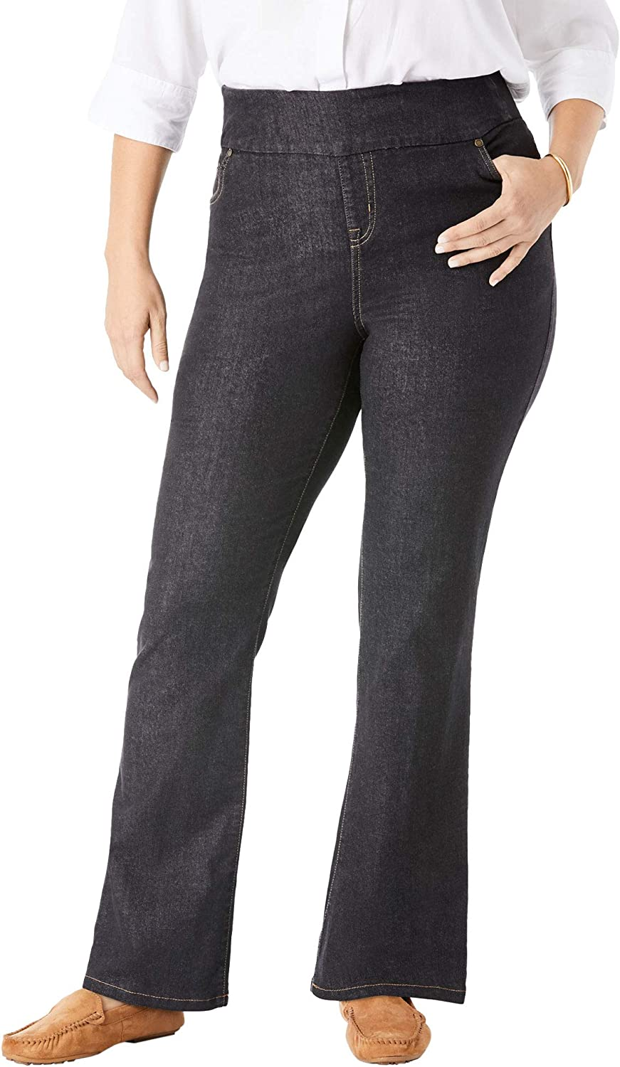 Woman Within Womens Plus Size Tall Bootcut Stretch Jean