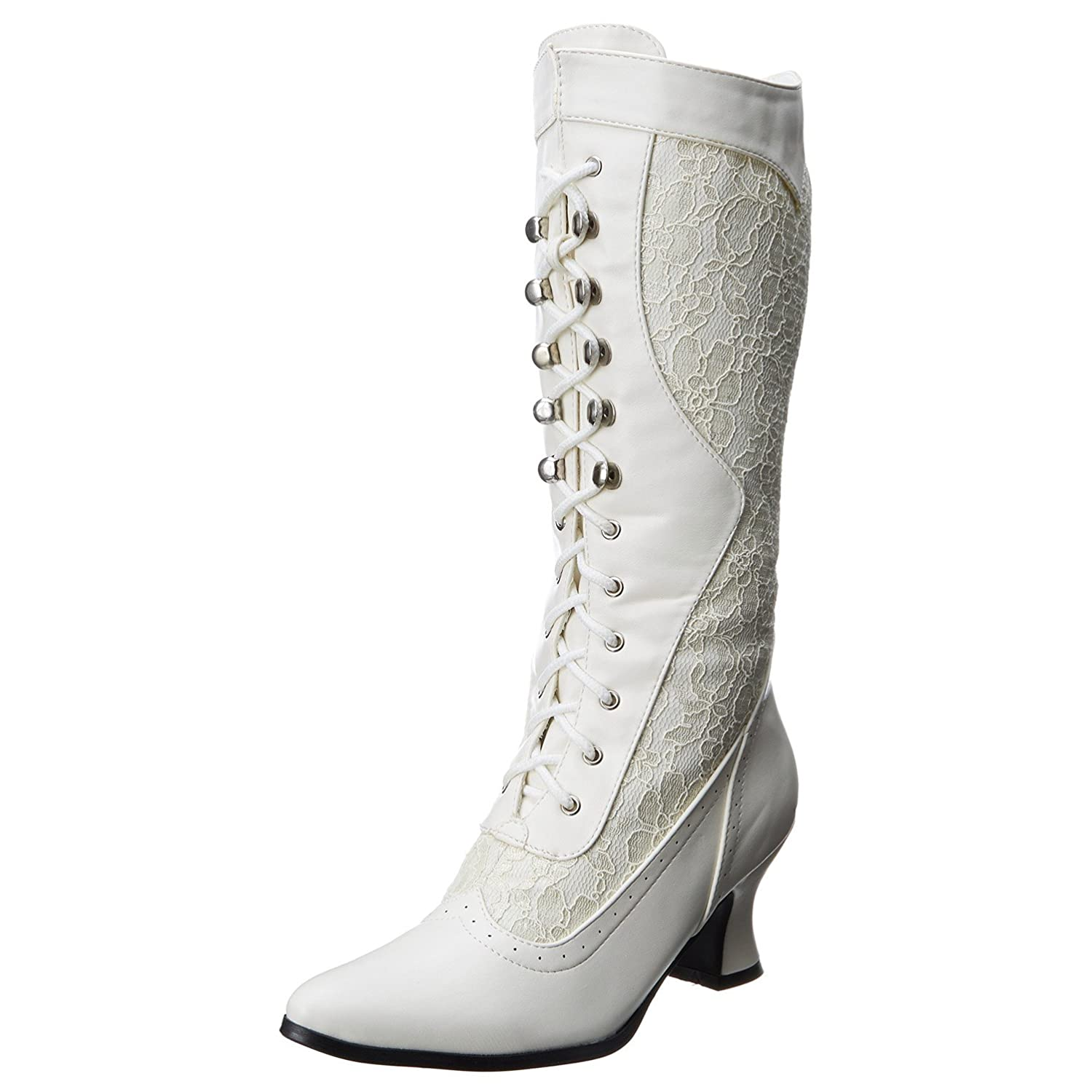Womens Vistorian Boots Ivory White Mid Calf Boots Lace Shoes 2 1/2 Inch Heels B002H9Y2HY 10