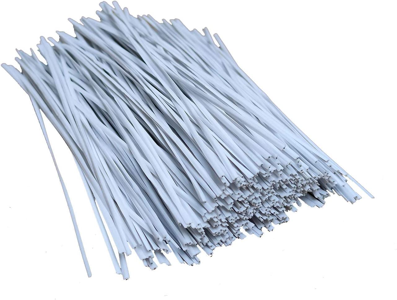 HHTHH White 1000pcs 4 inch Plastic Twist Ties with Rugged Metal Innercores for Bags Plant Garden Cable Ties (4in, White)