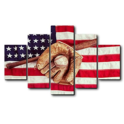 Amazon Antique USA Flag With Baseball Wall Decor Canvas Oil Extraordinary Lsu Bedroom Style Painting