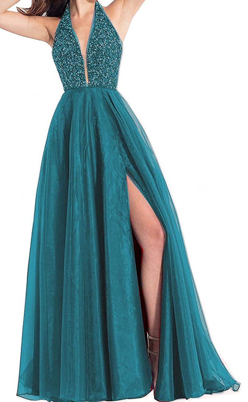 onlinedress Homecoming Dress Halter Beaded Prom Dress Long High Split Evening Formal Gown ON0234