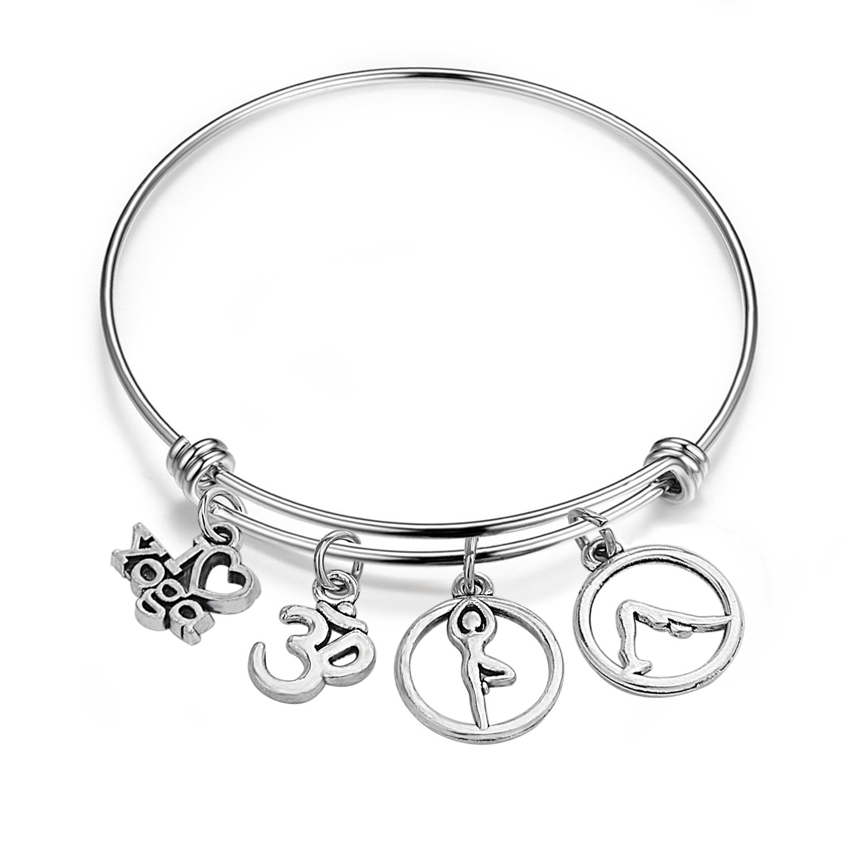 WUSUANED Yoga Bangle Bracelet Yoga Pose I Love Yoga Om Jewelry Yoga Meditation Gift for Yoga Lovers Teacher