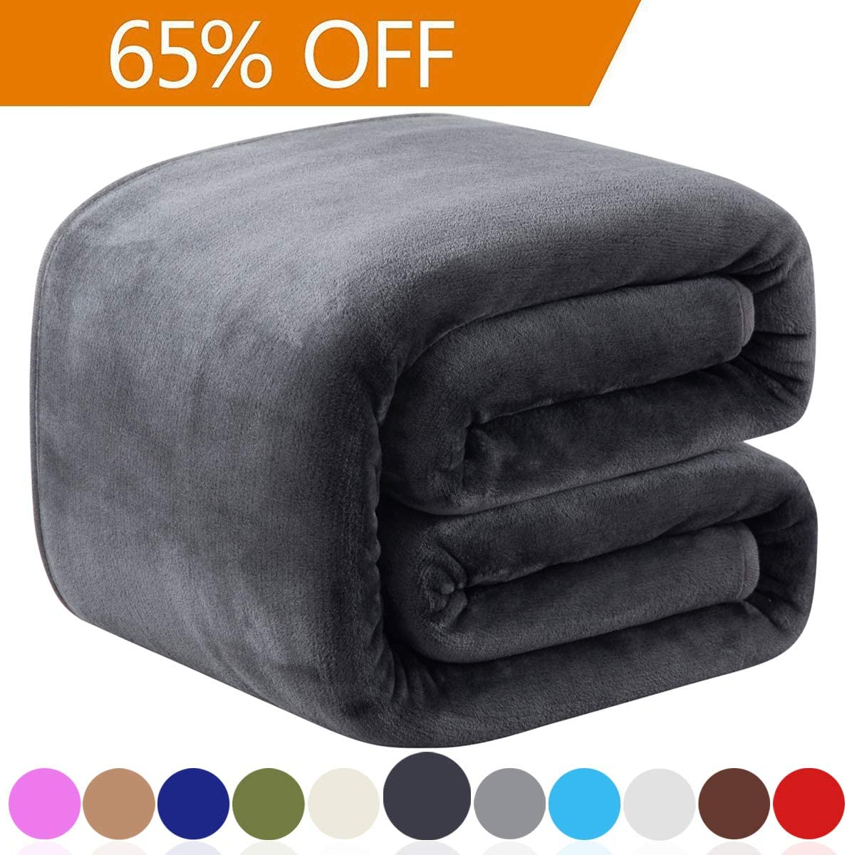 "Richave Fleece Queen Size Summer Blanket All Season 350GSM Lightweight Throw for The Bed Extra Soft Brush Fabric Winter Warm Sofa Blanket 90"" x 90""(Dark Gray Queen)"