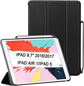 Trifold Smart Case for iPad 9.7 2018/2017, Lightweight Smart Cover with Auto Sleep/Wake, Microfiber Lining, Hard Back Cover for iPad 9.7 iPad 5th / 6th Generation, Black