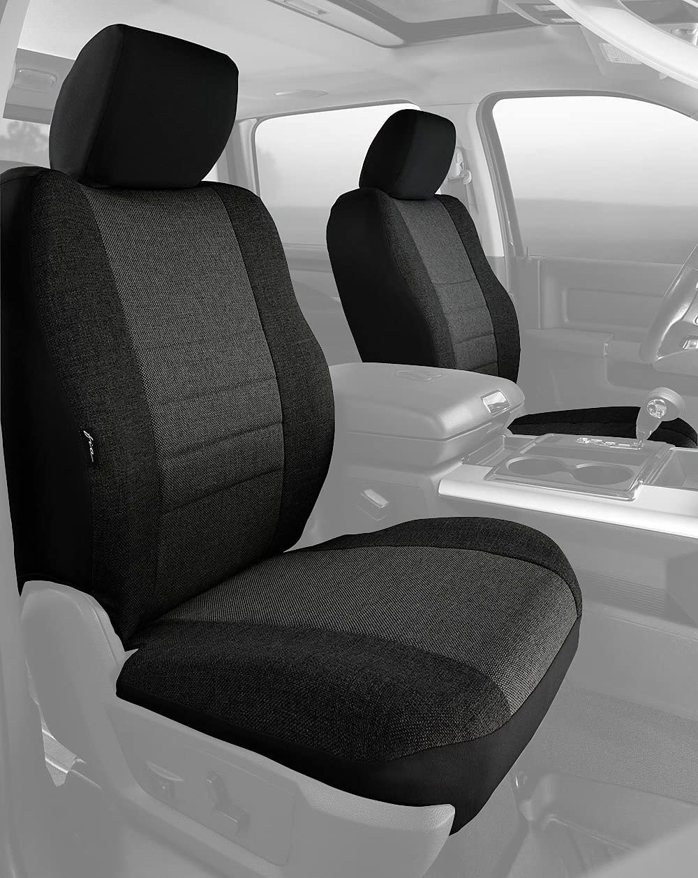 Leatherette Fia SL68-32 BLK//BLK Custom Fit Front Seat Cover Bucket Seats Solid Black