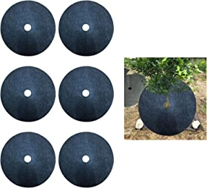 XINdream 6 Pack Tree Rings Landscaping, 24.4in Mulch Tree Rings for Weed Control, Non-Woven Fabric Tree Protector Mat Plant Cover for Weed Control & Root Protection