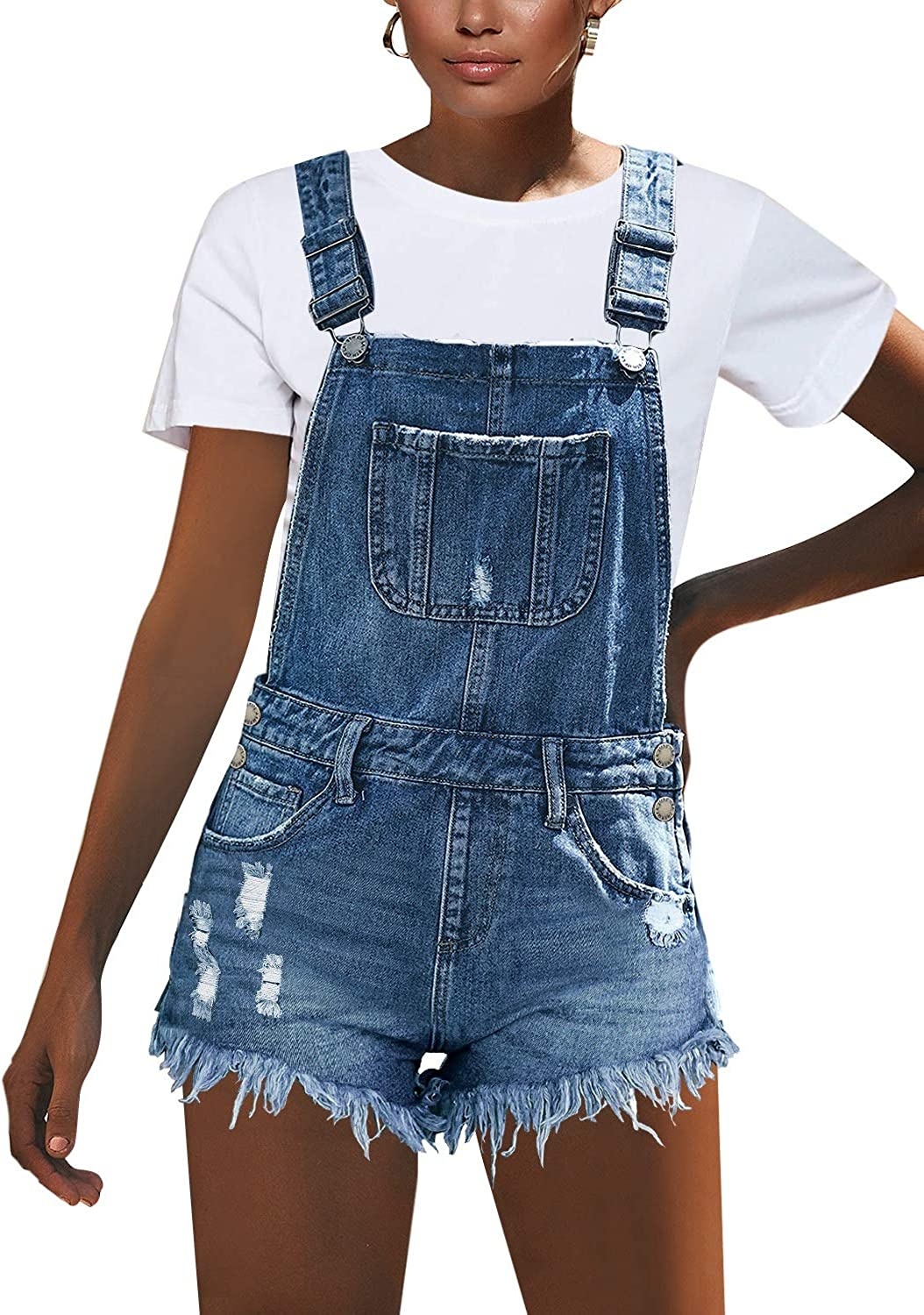 luvamia Womens Ripped Short Overalls Adjustable Denim Bib Overall Shorts Romper