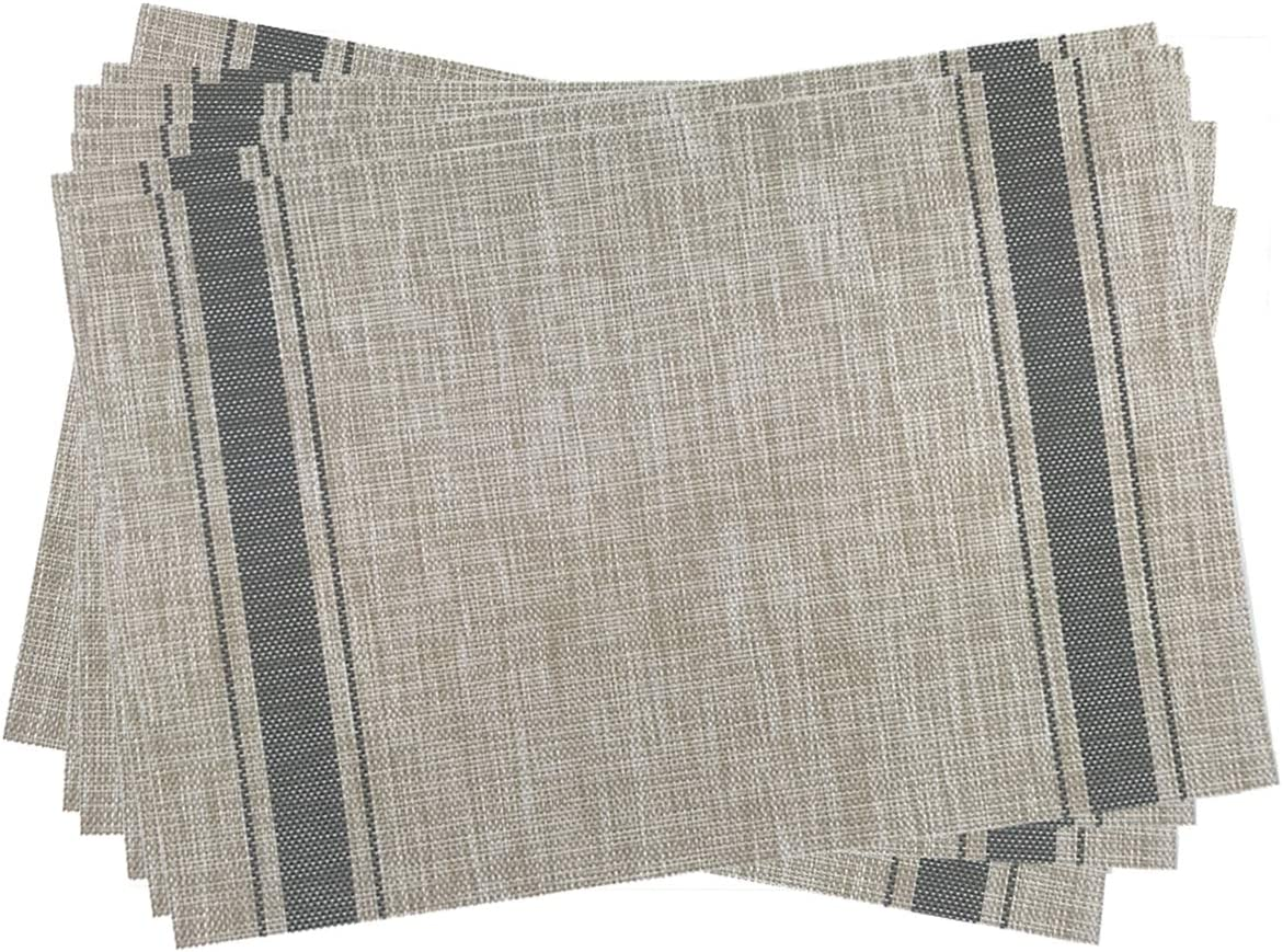 Gugrida Placemats, Heat-Resistant Placemats Stain Resistant Anti-Skid Washable PVC Table Mats Woven Vinyl Placemats, Set of 6(Grey Beige)