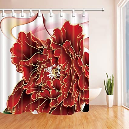 Amazon HiSoho Watercolor Flowers Shower Curtains For Bathroom