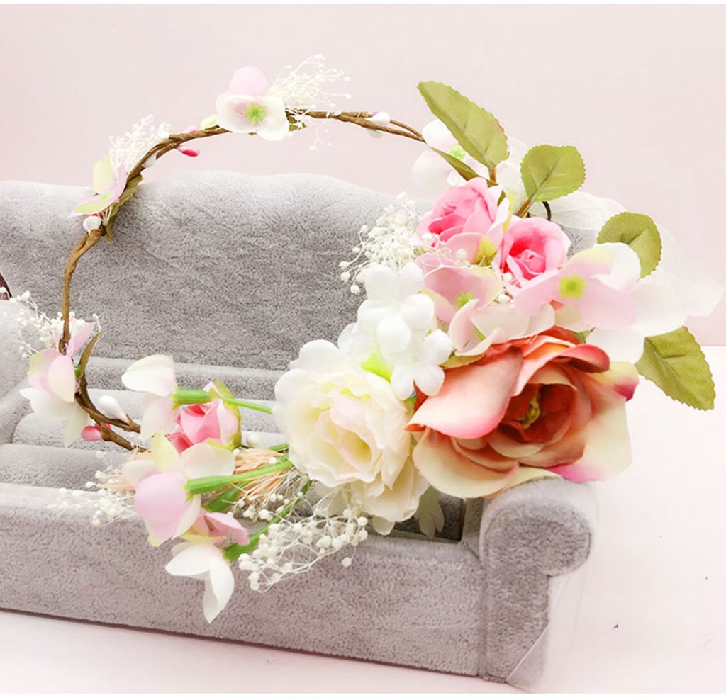 HYROS Corona de Flores Color : A Cinta de la Flor Guirnalda Mano de la Novia de la Boda Partido de la Cinta Cinta de la Venda Pulsera