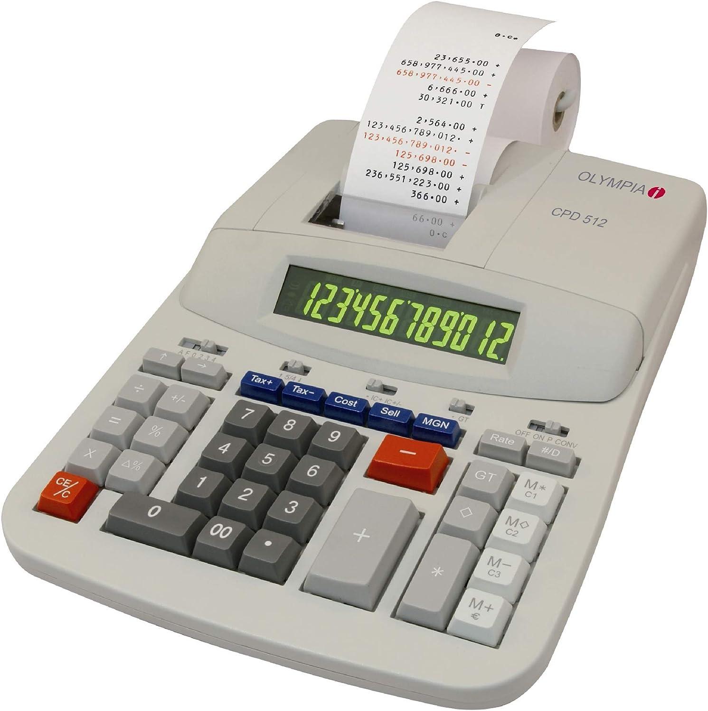 Olympia CPD 512 - Calculadora con impresora (12 dígitos, pantalla ...