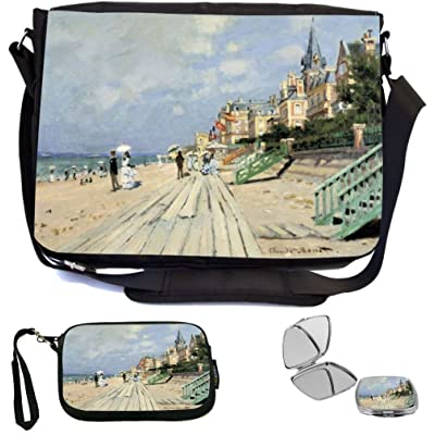 Rikki Knight Claude Monet Art Beach at TrouvilleB Design COMBO Multifunction Messenger Laptop Bag - with padded insert for School or Work - includes Wristlet & Mirror