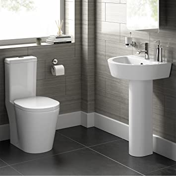Modern White WC Toilet Cistern Set U0026 Pedestal Basin Sink Bathroom Suite CS20