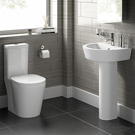 Modern White WC Toilet Cistern Set & Pedestal Basin Sink Bathroom Suite CS20