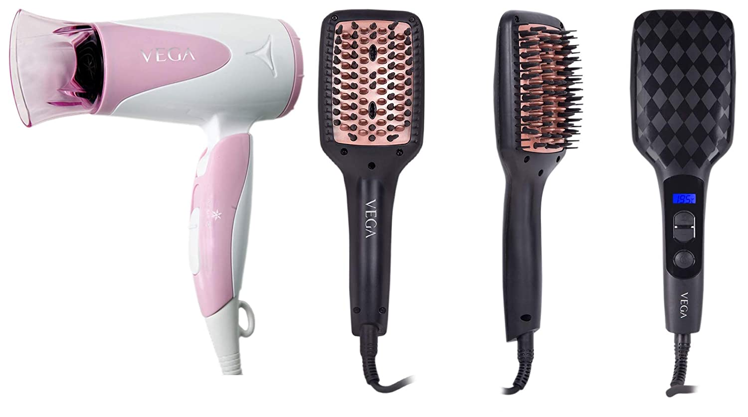 Best Blooming Air Hair Dryer & Vega X-Look – Simply Brush – Paddle Straightening Brush with Ionic Technology and Temperature Control