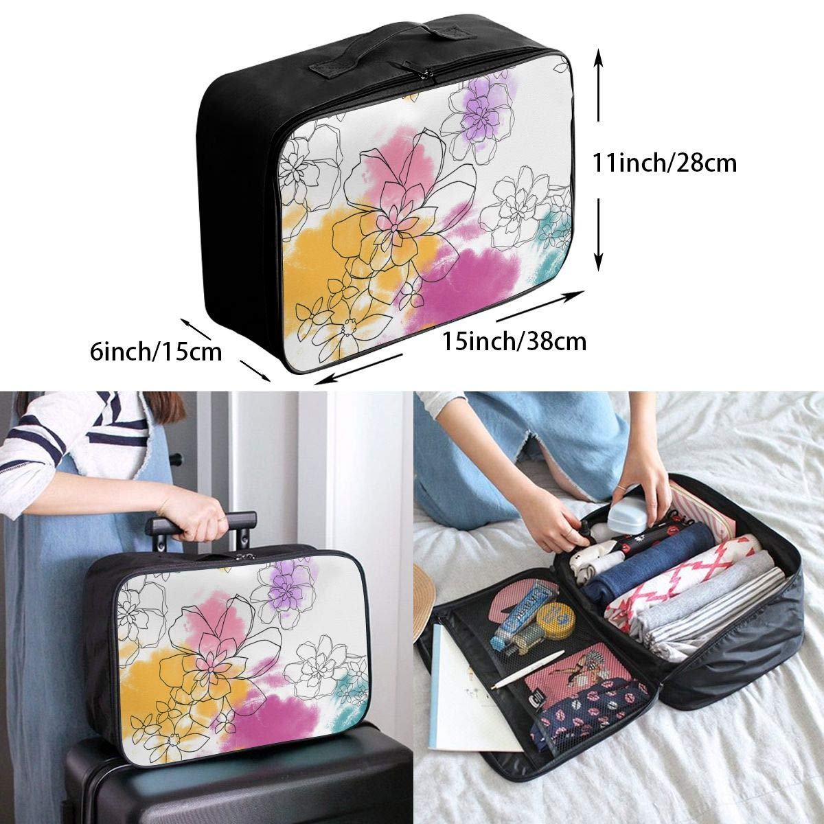 Travel Luggage Duffle Bag Lightweight Portable Handbag Colorful Floral Pattern Large Capacity Waterproof Foldable Storage Tote