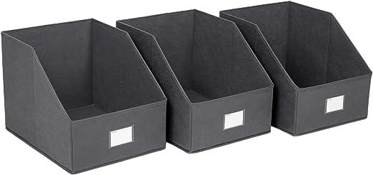SONGMICS Songmic Tela Cubo para almacenaje Set de 3 Cajas de almacenaje Caja Plegable Ventana de Etiqueta para Armario Gris 30 x 40 x 30 cm ROB03G: Amazon.es: Hogar