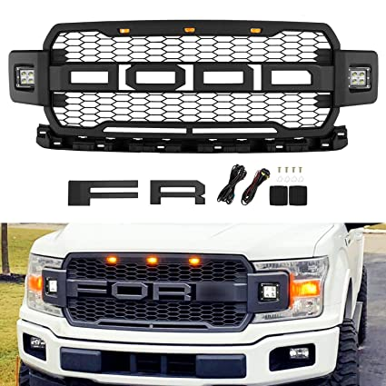 Seven Sparta Front Grill For Ford F150 2018 2019 Raptor Style Grill With Led Lights Matte Black