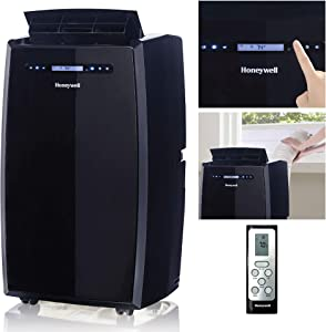 Honeywell (Black MN14CCSBB Portable Air Conditioner with Dehumidifier, Fan with Remote Control & Advanced LCD Display Cools Rooms Up to 550-700 Sq. Ft