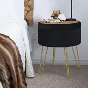 Velvet Storage Ottoman Home Vanity Seat/Table Small Round Soft Foot Rest Stool with Non-Slip Golden Hairpin Legs for Living Room, Bedroom and Kids Room (D15 xH18, Black)