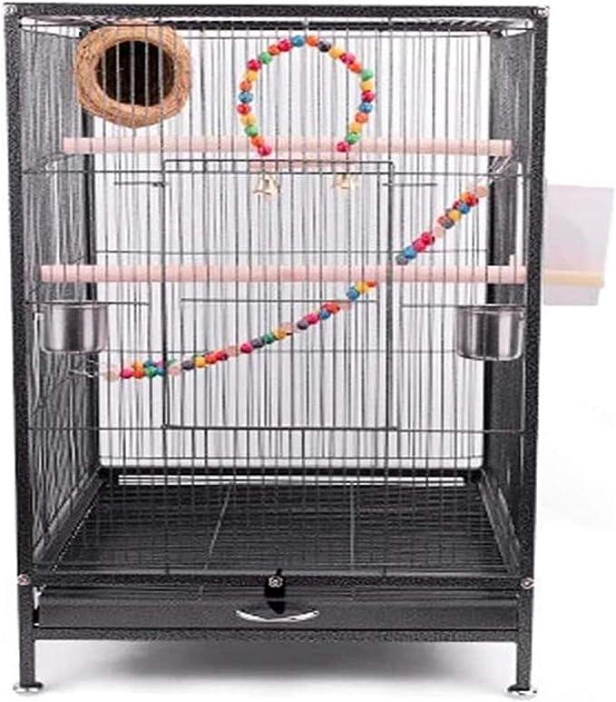 Jaula dpájaros duradera y ecológica, Loro jaula pájaros 75 cm Extra grande jaula de pájaros metal jaula de aves para cacatúa / loro / lovebird / pájaro pájaro aviario con poste de poste y escalera jug