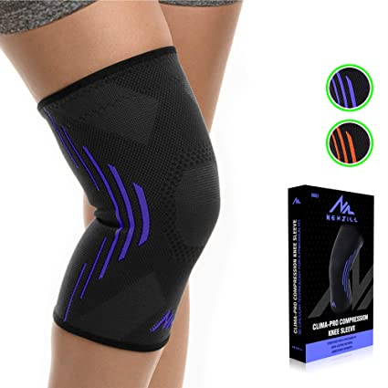 Newzill Compression Knee Brace For Knee Pain Braces And Supports Knee For Pain Relief Meniscus Tear Arthritis Injury Running Joint Pain Support Best Knee Sleeve Black Blue Medium Amazon In Sports Fitness