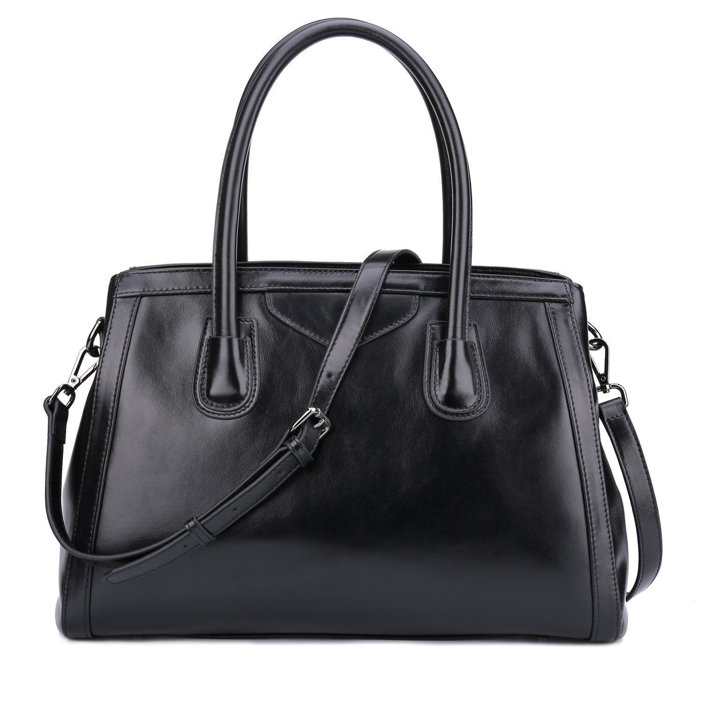 Yafeige Womens Leather Vintage Handbags Top Handle Bags Work Tote Shoulder Satchels Handbag Cross Body bag for Ladies(Black)