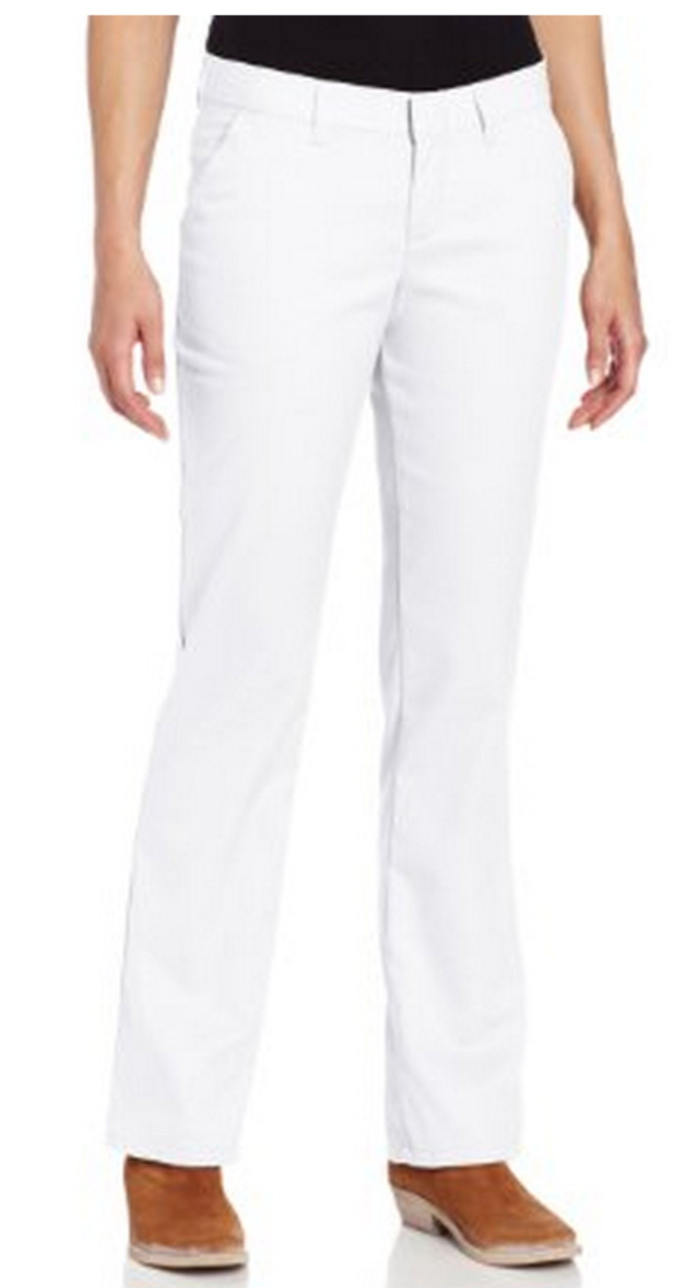 Dickies Women's Wrinkle Resistant Flat Front Twill Pant With Stain Release Finish,White,8 Regular