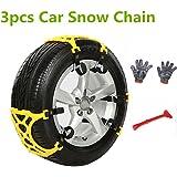 Cadena de nieve antideslizante de 3 secciones, cadena de nieve antideslizante universal para ruedas de coche, camión o SUV para conducir en invierno, carreteras con nieve o arena