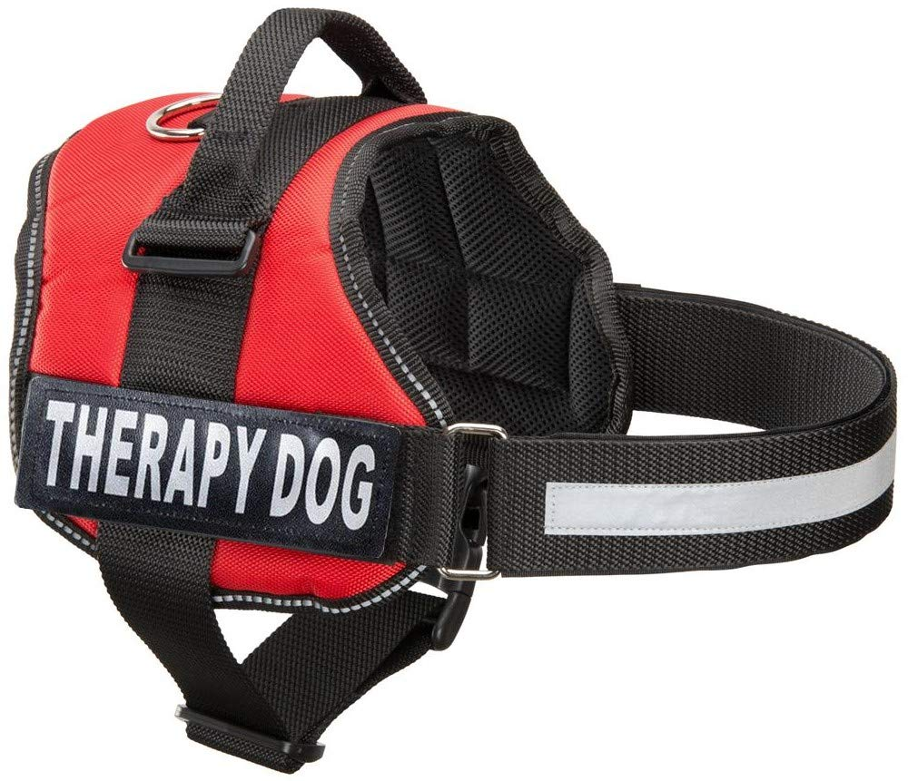 Red Large, Fits Girth 27-33.5\ Red Large, Fits Girth 27-33.5\ Therapy Dog Vest Harness, Service Dog Vest with 2 Reflective Therapy Dog Hook and Loop Patches (Large, Red)