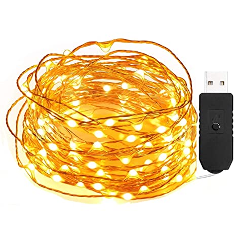 qedertek Fairy guirnalda de luces LED alambre de cobre 100 LED USB Starry luces para la