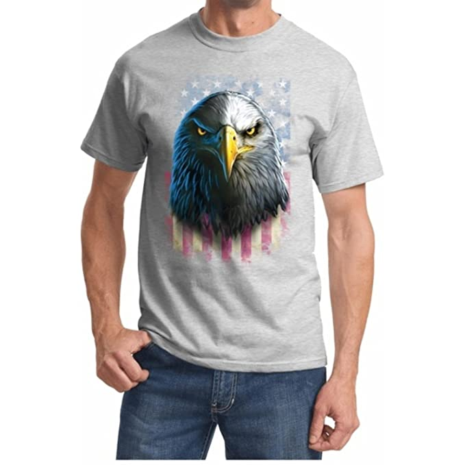 Amazon.com: Bandera Americana Eagle Stare patriótico playera ...